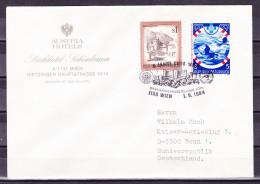 B-1093, Österreich, Stempel: 5 J. UNPA (Postverwaltung Der Vereinten Nationen) In Wien, Brief Nach Deutschland - Poststempel - Freistempel