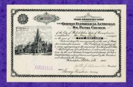 T-US German Evangelical Lutheran St. Petri Church Philadelphia 1905 - Actions & Titres