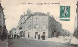 53 - Laval - La Rue Joinville Et La Rue D'Ernée (café Poulain) (semeuse Obliteration Plume) - Laval