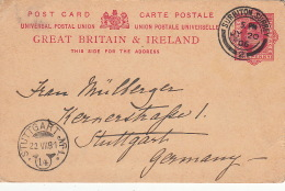 Entier CaD Surbiton Surrey Pour L'Allemagne 1906 - Stamped Stationery, Airletters & Aerogrammes