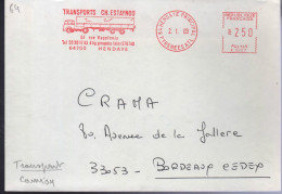 """Lettre EMA 64 Hendaye Principal 2. 1. 89 """"Transport Ch. Estaynou ( Camion ) - Postmark Collection (Covers)"""