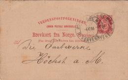 Entier CaD Bureau De Mer Norvège 1894 TTB