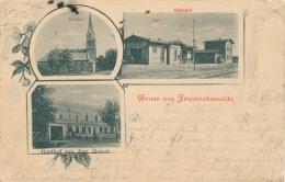 ALLEMAGNE - Gruss Aus FRIEDRICHSWALDE - Bahnhof , Kirche & Gasthof Von Aug. Heiert (1901) - Deutschland
