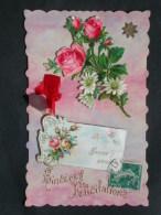 Ref5189 ORL4 Jolie Carte De Voeux Gaufrée Bonne Année Avec Des Découpis Des Fleurs Et Un Ruban 1909 - Fancy Cards