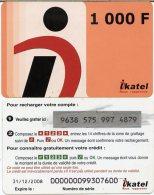 @+ Mali - Prépayée Ikatel - 1000 F - Date 31/12/2008 (maigre) - Mali