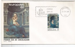 MADRID FDC SPD 1985 ARTE PINTURA VIRGEN DE LOVAINA EMISION CONJUNTA CON BELGICA - Madonnas
