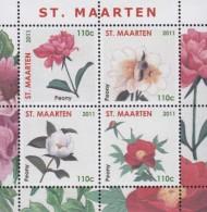St.Maarten.2011. Flowers.Peony.Sheet.4v.MNH.22781 - Otros
