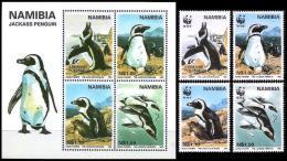 WWF Namibia 1997 Birds Jackass Penguin MNH Set + Souvenir Sheet - Unused Stamps