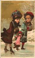 CHROMO 150416 - CHOCOLAT GUERIN BOUTRON - La Première Leçon - Patinage Jeu Glace Poupée - Guerin Boutron