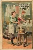 CHROMO 150416 - CHICOREE EXTRA A LA BELLE JARDINIERE C BERIOT LILLE - Laveuse Lavandière Repasseuse Pressing - Thé & Café
