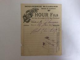 Facture  HOUR Fils. BOUCHERIE SAINT LAZARE Rue St Lazare. Rue Taitbout Paris 25 Janvier 1910 - Alimentaire