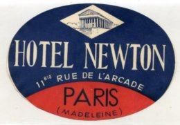 FRANCE, Paris, Madeleine - Hotel Newton - Luggage Label - (540) - Etiquettes D'hotels