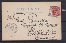 GREAT BRITAIN 1902, POSTAL CARD, LONDON 1. DEC. 1902 TO BERLIN, GERMAN CANCEL 2. DEC. 1902, See Scans - Entiers Postaux