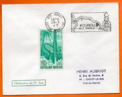 MAURY N° 1635 GUYANNE TERRE DE L'ESPACE Lettre Entière N° Z 492 - Postmark Collection (Covers)