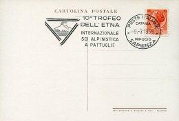 7553 Italia, Special Card And Postmark 1958 Catania, Rifugio Sapienza  Etna Trophy, Katana Cup 1958 Ski, Sci, - Ski