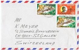 L-FEL48 - NIGERIA Lettre Par Avion Pour La Suisse Thèmes Félin, Insecte, Médecine Malaria - Big Cats (cats Of Prey)