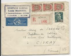 """ALGERIE - 1948 - ENVELOPPE RECOMMANDEE Par AVION De BONE (CONSTANTINE) RECETTE AUXILIAIRE """"A"""" Pour CIVRAY - Brieven En Documenten"""