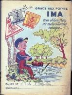 """Protège Cahier Publicitaire Ancien """"Grace Aux Points IMA..."""" . En Papier Fort - Buvards, Protège-cahiers Illustrés"""