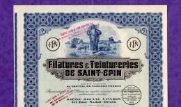 T-FR Filatures & Teintureries De Saint-Epin 1905 Bury Oise - Actions & Titres