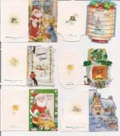 Saisons & Fêtes -  Joli Lot De 6 Images Ou Cartes Cadeau -  NOËL -  Cheminée, Chat, Père Noël, Lampion - Noël