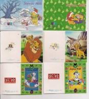 Saisons & Fêtes -  Joli Lot De 6 Images Ou Cartes Cadeau - NOËL -  Disney - Roi Lion, Dalmatiens, Winnie - Noël