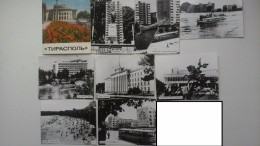 Tiraspol, Moldova  (Transnistria Capital) - OLD PC  - 8 Postcards 1970s - MIG Plane/ Avion - Lenin Monument - Moldavië