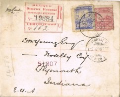 17541. Carta  Certificada MEXICO D.F. (Mexico) 1898. Label To USA - Mexique