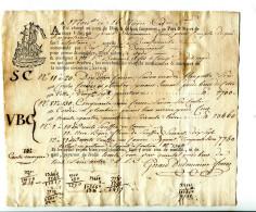 """2016 04 15  Connaissement Bateau """"la Bienfaisante"""" Pour Agde Du 16 Nivose An 5 Format 23,5 X 20 Cm - Documentos Históricos"""