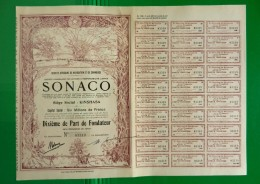 T-CBE SONACO Société Africaine De Navigation Et De Commerce CONGO 1928 - Actions & Titres