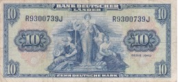 BILLETE DE ALEMANIA DE 10 MARCOS DEL AÑO 1949  (BANKNOTE) - [ 7] 1949-… : FRG - Fed. Rep. Of Germany