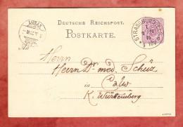 P 5 II, Strassburg Nach Calw, AK-Stempel 1875 (29482) - Entiers Postaux