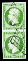 N°12, 5c Vert En Paire Verticale, Oblitération Grille, Jolie Pièce (signé/certificat)    Qualité: O - 1853-1860 Napoléon III