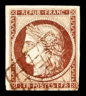 N°6, 1F Carmin Oblitération GRILLE ROUGE. R.R.R. SUPERBE (signé Scheller/certificat)    Qualité: O - 1849-1850 Cérès