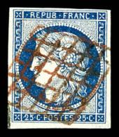 N°4, 25c Bleu Oblitération GRILLE ROUGE. R.R.R. SUPERBE (signé Scheller/certificat)    Qualité: O - 1849-1850 Cérès