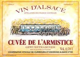 "05190  ""CUVEE DE L'ARMISTICE - GEWURZTR.  - COOP. VITIC. DE CLEEBOURG"" ETICH. ORIG. CON TRENO - ORIG. LABEL WITH TRAIN - Gewurztraminer"