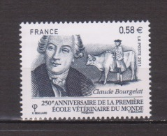 FRANCE / 2011 / Y&T N° 4553 ** : Ecole Vétérinaire De Lyon & Claude Bougelat X 1 - Gomme D'origine Intacte - France