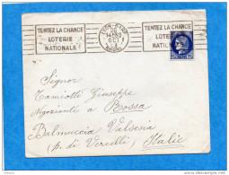 MARCOPHILIE-lettre N°373 -1,75 Frs Cérés-cad Lyon Gare +flamme Loterie Nle  -oct 1933 -tarif  Pour Italie - 1921-1960: Modern Period