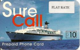 CARTE-PREPAYEE-USA-10$-SURE CALL-PAQUEBOT-Autocollant FLAT RATE Fine-Plastic Fin-GR ATTE- TBE - Sonstige