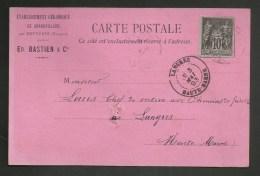 """Carte Postale Commerciale """" Ets Céramique De GRANDVILLERS - VOSGES """" 05.1893 Pour LANGRES - HAUTE MARNE - 1877-1920: Semi Modern Period"""