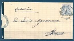 1881 , ZARAGOZA , CARTA CIRCULADA A REUS , MAT. TIPO TRÉBOL, LLEGADA TRÉBOL DE REUS , ED. 204 - 1875-1882 Royaume: Alphonse XII