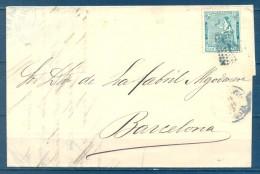 1873 , ZARAGOZA , CARTA CIRCULADA ENTRE CALATAYUD Y BARCELONA , MAT. ROMBO , ED. 133 - 1873 1. Republik