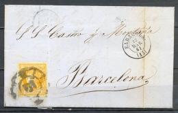 1861 , ZARAGOZA , CARTA CIRCULADA A BARCELONA , MAT. RUEDA DE CARRETA Nº 15 , LLEGADA - 1850-68 Königreich: Isabella II.