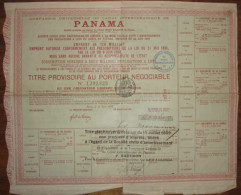 Compagnie Universelle Du Canal Interocéanique De Panama - Titre Provisoire Au Porteur - Actions & Titres