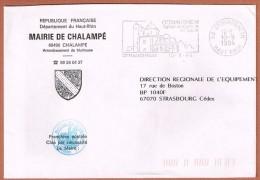 CHALAMPÉ Blason De La Mairie Flamme Illustrée Ottmarsheim 10.9.94 - Postmark Collection (Covers)