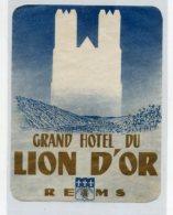 FRANCE, Reims - Grand Hotel Du Lion D' Or - Luggage Label - (546) - Etiquettes D'hotels