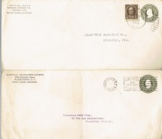 Lot De 4 Entiers (postal Stationery) With Additional Stamp From The USA 1923/25 - 1921-40