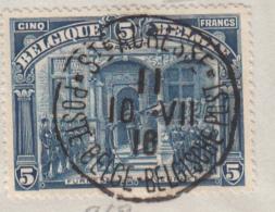 BELGIE 1915 Série Albert I Oblitérés Poste Belge Ste Adresse 5 FRANKEN (yvert 148) Sur Enveloppe N'ayant Pas Voyagé - 1915-1920 Albert I
