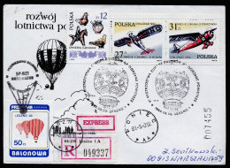 A3935) Polen R-Express-Brief Ballonpost Von Leszno 3.9.1988 - Poste Aérienne
