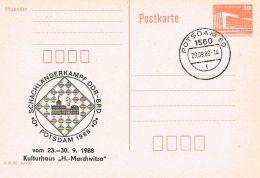 S27 - DDR - 1560 Potsdam - Ganzsache Mit Zudruck Schachländerkampf DDR - BRD Potsdam 1988 - Chess