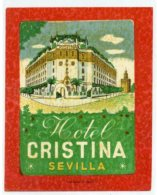 SPAIN, Sevilla - Hotel Cristina - Luggage Label - (571) - Hotel Labels